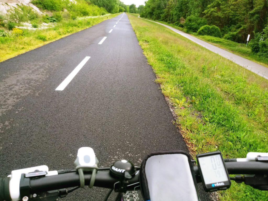 kierownica na tle ścieżki rowerowej