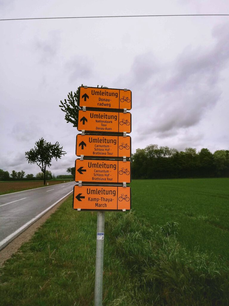drogowskazy rowerowe na tle drogi