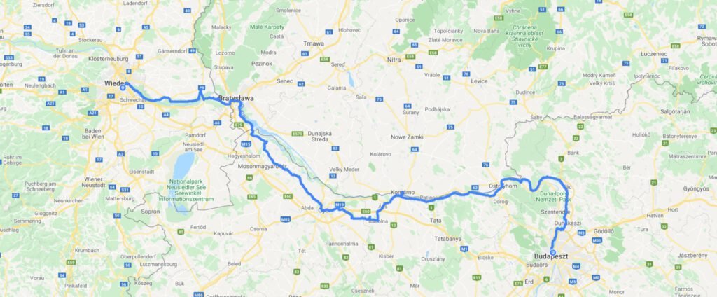 mapa trasy Wiedeń Budapeszt