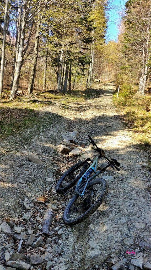 rower na kamienistej drodze