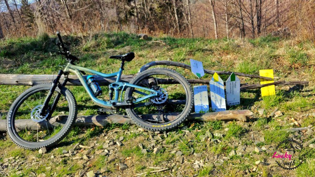 rower przewrócony o oparty drogowskaz