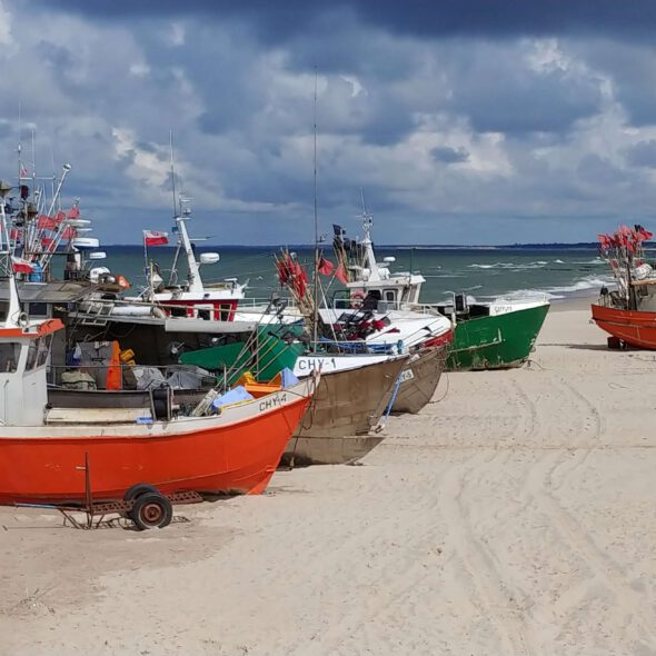 kutry rybackie na plaży