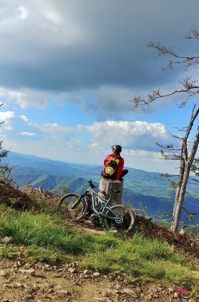 osoba siedzi na pniu na tle panoramy górskiej