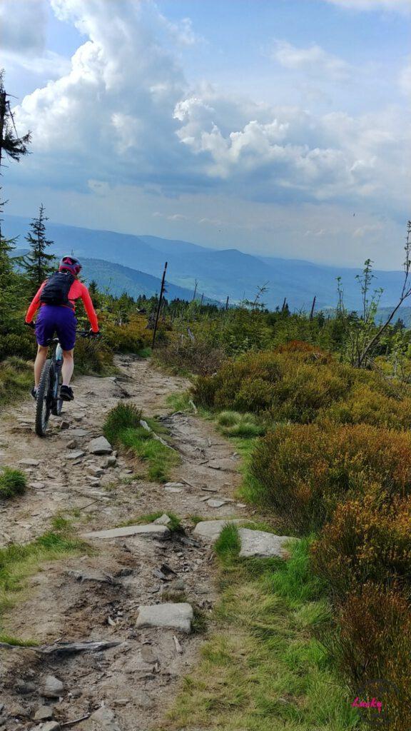 osoba jedzie na rowerze w górach